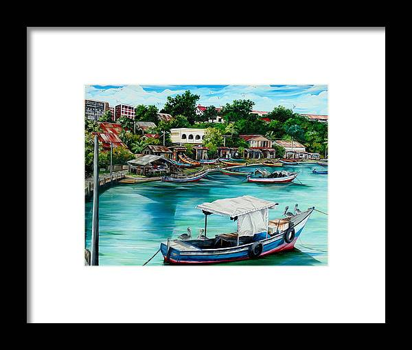 Ocean Painting Sea Scape Painting Fishing Boat Painting Fishing Village Painting Sanfernando Trinidad Painting Boats Painting Caribbean Painting Original Oil Painting Of The Main Southern Town In Trinidad  Artist Pob Framed Print featuring the painting Sanfernando Wharf by Karin Dawn Kelshall- Best
