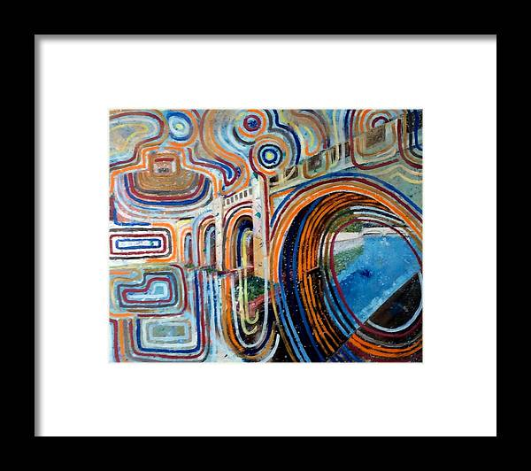 Abstract Construction Of Bridge Framed Print featuring the painting SanGandolfo by Biagio Civale