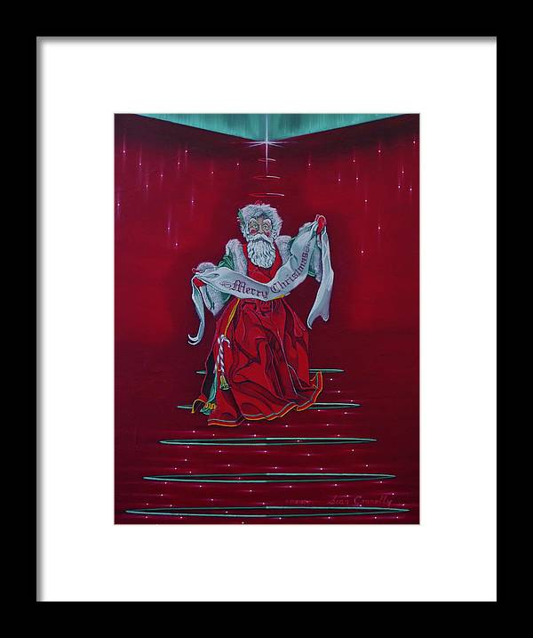 Realism Framed Print featuring the painting Santa Claus - Top Of The World by Sean Connolly