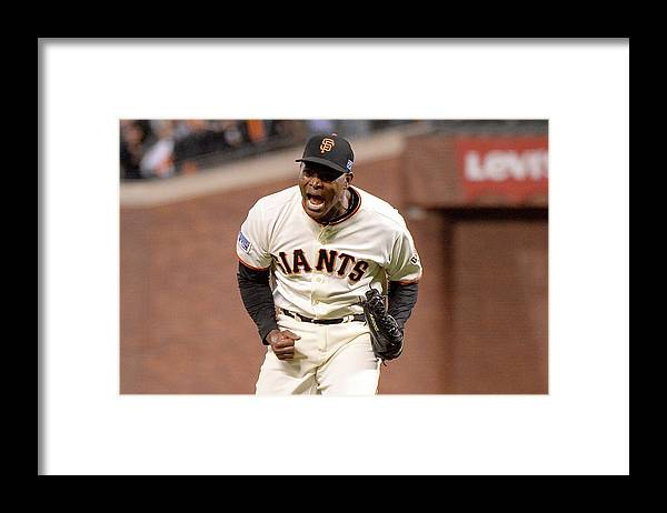 Playoffs Framed Print featuring the photograph Santiago Casilla by Harry How