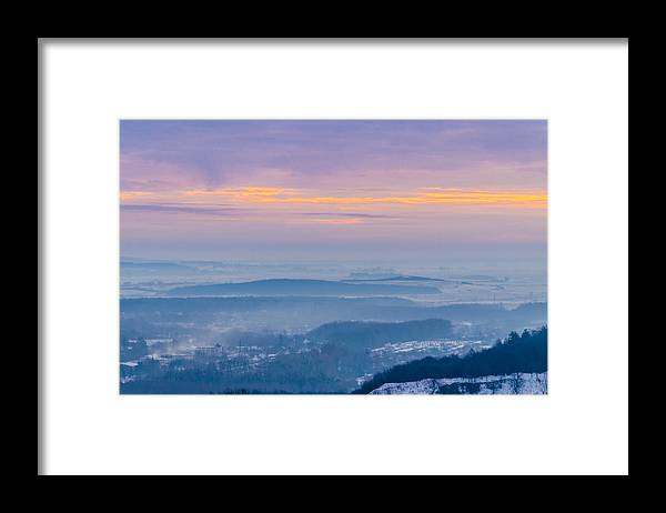 Tranquility Framed Print featuring the photograph Scenic view of mountains during sunset by Yuriy Semak / FOAP