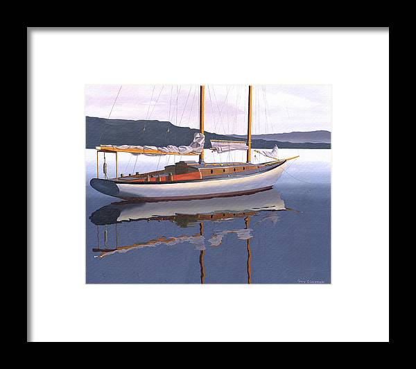 Schooner Framed Print featuring the painting Schooner at dusk by Gary Giacomelli