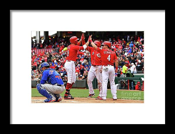 Great American Ball Park Framed Print featuring the photograph Scooter Gennett and Joey Votto by Jamie Sabau