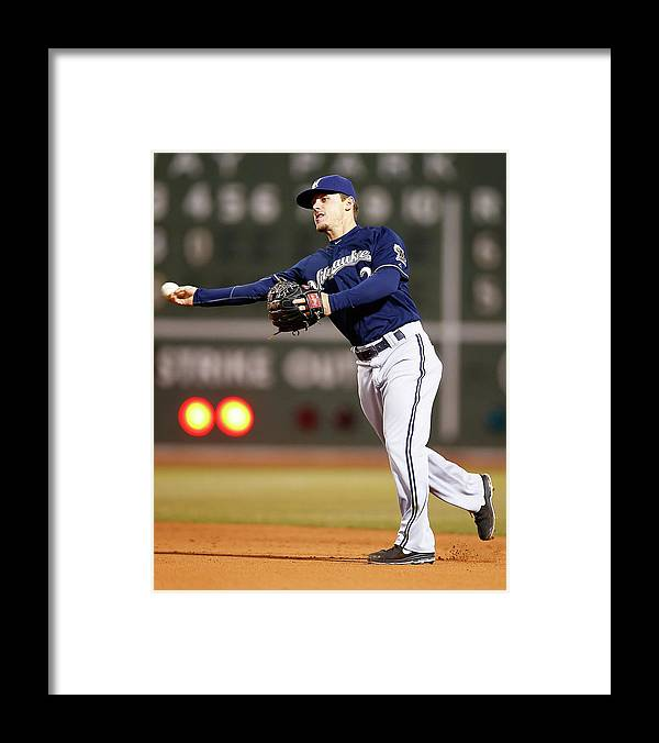 American League Baseball Framed Print featuring the photograph Scooter Gennett by Jared Wickerham