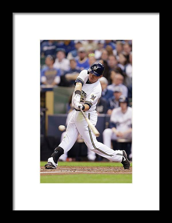 2nd Base Framed Print featuring the photograph Scooter Gennett by Mike Mcginnis