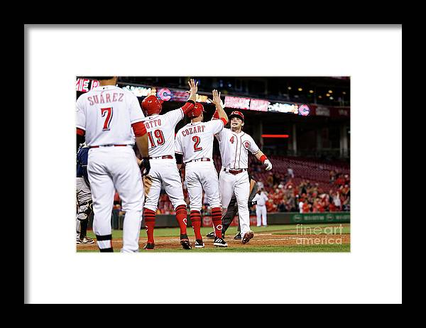 Great American Ball Park Framed Print featuring the photograph Scooter Gennett, Zack Cozart, and Joey Votto by Kirk Irwin