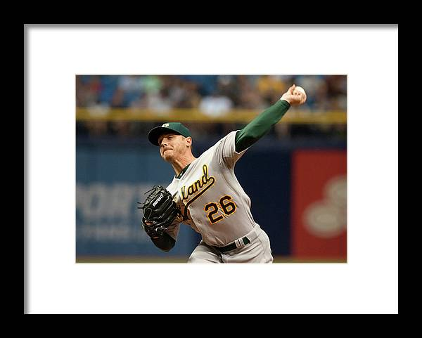 Three Quarter Length Framed Print featuring the photograph Scott Kazmir by Cliff Mcbride