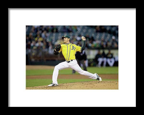 American League Baseball Framed Print featuring the photograph Scott Kazmir by Ezra Shaw