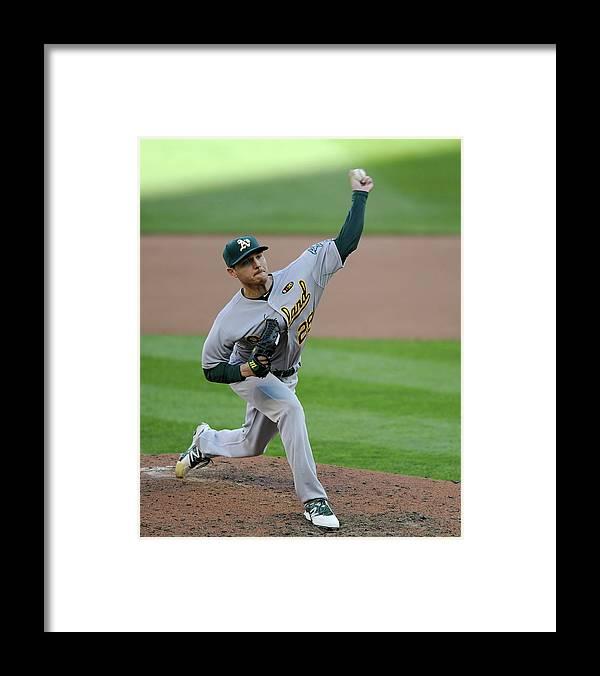American League Baseball Framed Print featuring the photograph Scott Kazmir by Hannah Foslien