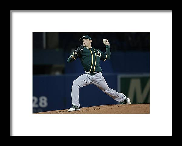 American League Baseball Framed Print featuring the photograph Scott Kazmir by Tom Szczerbowski