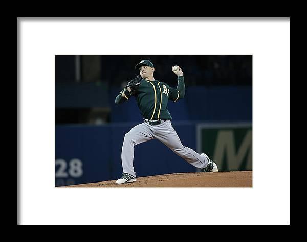 American League Baseball Framed Print featuring the photograph Scott Kazmir by Tom Szczerbowski