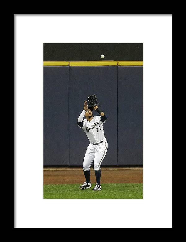 People Framed Print featuring the photograph Scott Van Slyke and Carlos Gomez by Mike Mcginnis