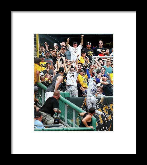 People Framed Print featuring the photograph Scott Van Slyke and Francisco Liriano by Jared Wickerham