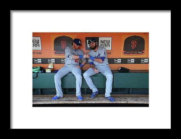 San Francisco Framed Print featuring the photograph Scott Van Slyke and Justin Turner by Brad Mangin