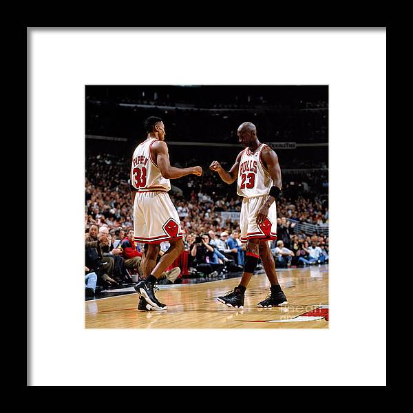 Chicago Bulls Framed Print featuring the photograph Scottie Pippen and Michael Jordan by Nathaniel S. Butler