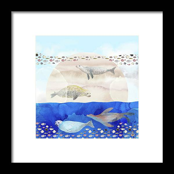 Seals Framed Print featuring the digital art Seals, Sand, Ocean, Sun - A Surreal Dream by Andreea Dumez
