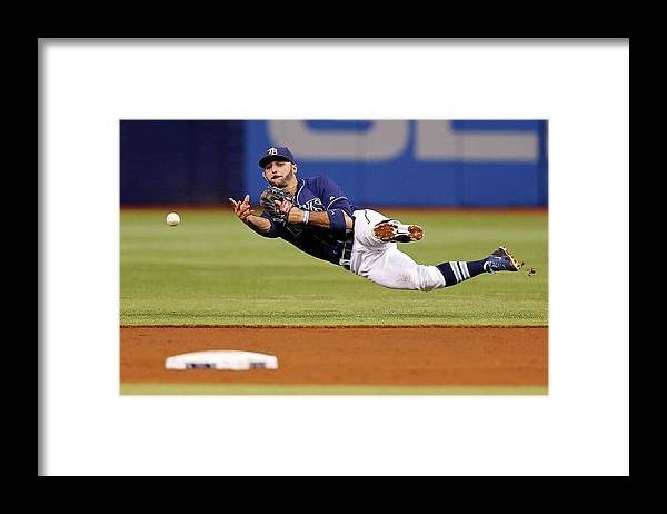 Sean Rodriguez Framed Print featuring the photograph Sean Rodriguez and Jackie Bradley by Mike Carlson