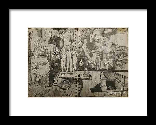 Orions Belt Framed Print featuring the drawing Second half of sketch for, Time immutable, OrionsBelt, and the New Madrid Straight by Jude Darrien