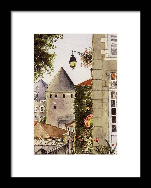 France Framed Print featuring the painting Semur en Auxois by Mary Ellen Mueller Legault