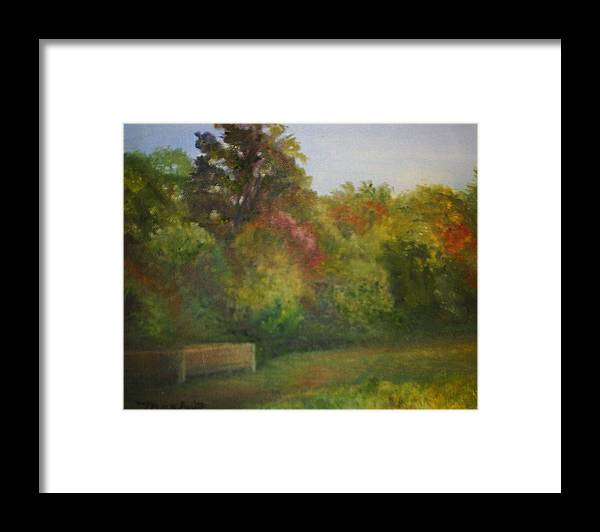 September Framed Print featuring the painting September in Smithville Park by Sheila Mashaw