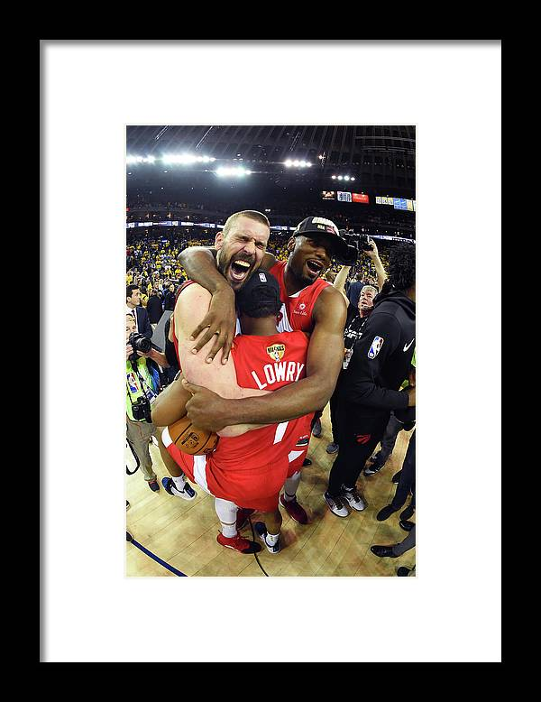 Playoffs Framed Print featuring the photograph Serge Ibaka, Marc Gasol, and Kyle Lowry by Andrew D. Bernstein