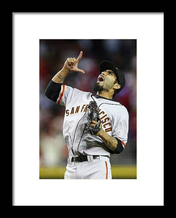 Relief Pitcher Framed Print featuring the photograph Sergio Romo by Christian Petersen