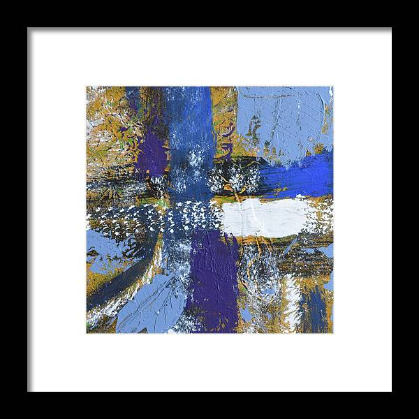 Blue Framed Print featuring the painting Series 1 Right Side by Pam Roth O'Mara