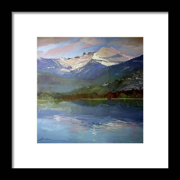 Murals Framed Print featuring the painting Shadows of Winter, Chimney Rock, Priest Lake by Betty Jean Billups