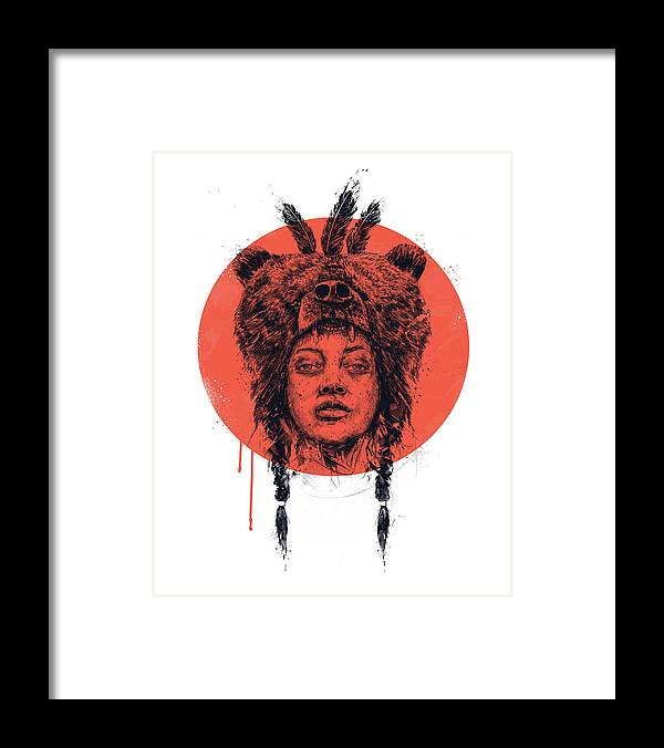 Girl Framed Print featuring the drawing Shaman by Balazs Solti