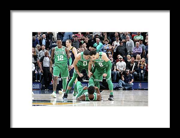 Nba Pro Basketball Framed Print featuring the photograph Shane Larkin, Jaylen Brown, and Jayson Tatum by Melissa Majchrzak