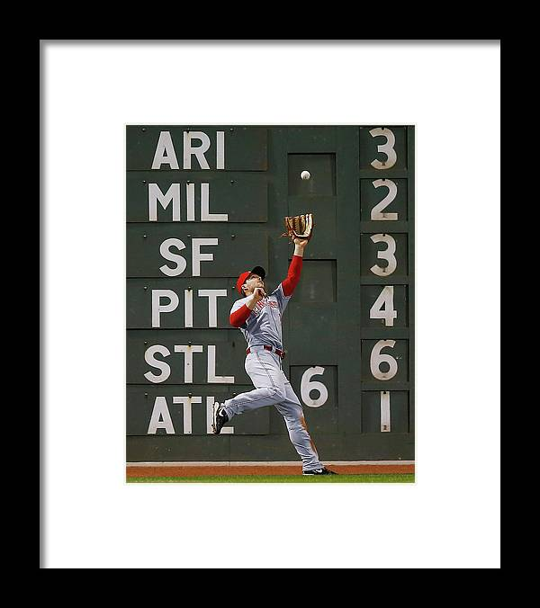 American League Baseball Framed Print featuring the photograph Shane Victorino and Chris Heisey by Jared Wickerham