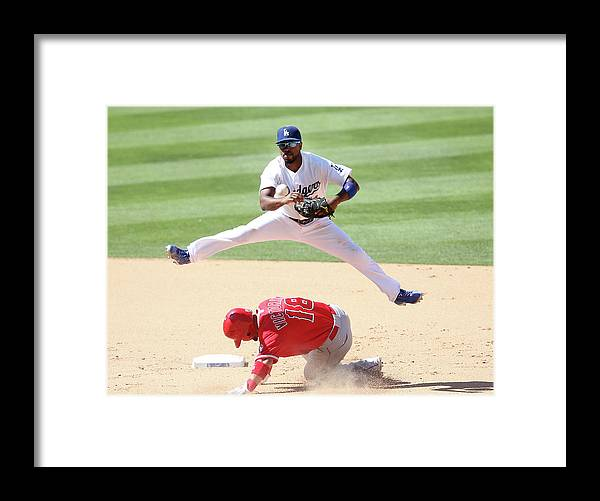 Double Play Framed Print featuring the photograph Shane Victorino and Jimmy Rollins by Stephen Dunn