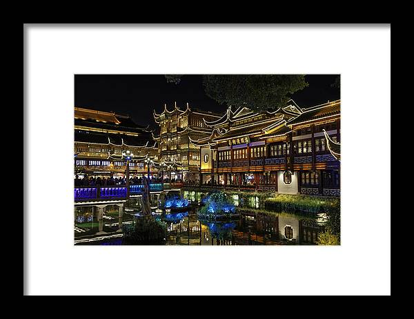 Chinese Culture Framed Print featuring the photograph Shanghai, The Yuyuan Bazaar and his pond at dusk. by a.v.Photography