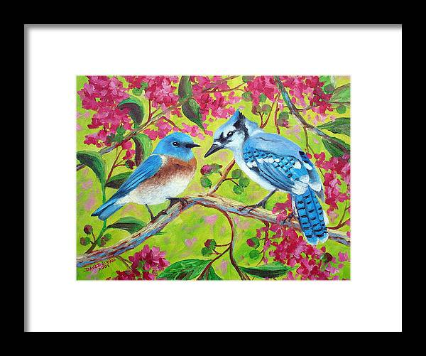 Birds Framed Print featuring the painting Sharing A Branch by David G Paul