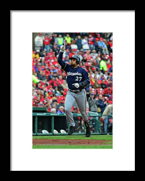 Thank You Framed Print featuring the photograph Shelby Miller and Carlos Gomez by Jeff Curry