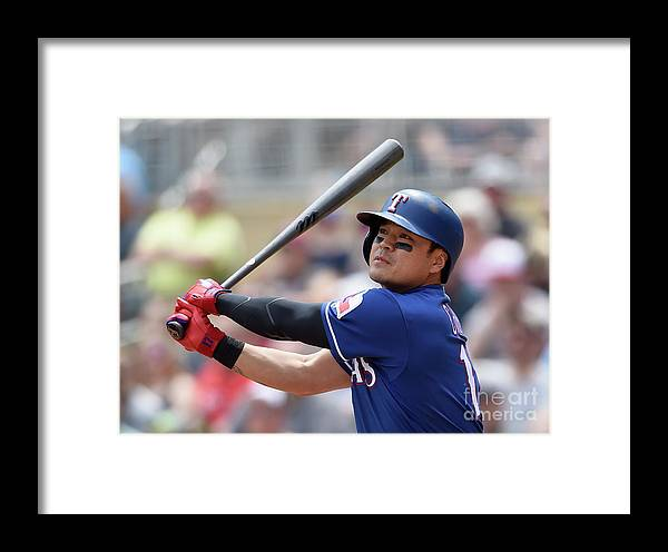Second Inning Framed Print featuring the photograph Shin-soo Choo by Hannah Foslien