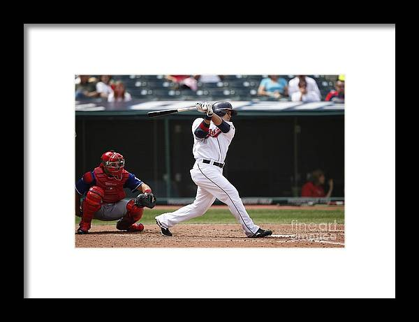 American League Baseball Framed Print featuring the photograph Shin-soo Choo by Joe Robbins