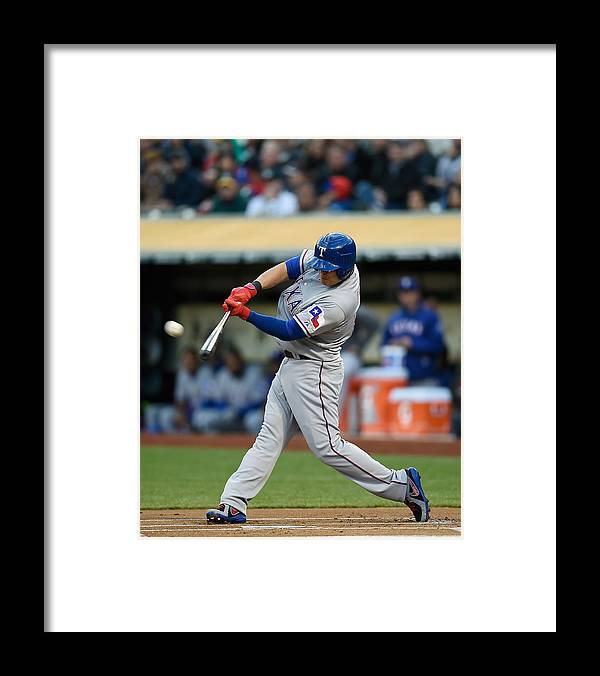 American League Baseball Framed Print featuring the photograph Shin-soo Choo by Thearon W. Henderson