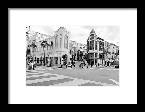 People Framed Print featuring the photograph Shopping district in Beverly Hills by Lena Wagner