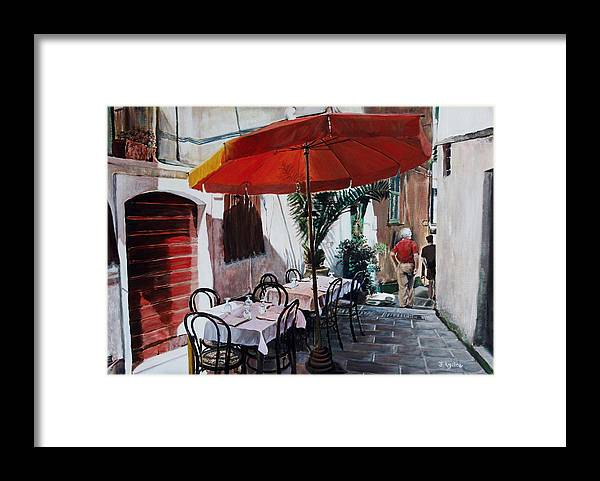 Cafe Framed Print featuring the painting Red Umbrella Outdoor Cafe by Jennifer Lycke