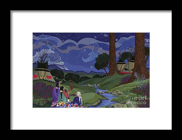 America Framed Print featuring the painting Sighting Eagle on the Third Day by Chholing Taha