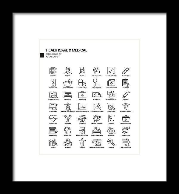 Ambulance Framed Print featuring the drawing Simple Set of Healthcare and Medical Related Vector Line Icons. Outline Symbol Collection by Designer