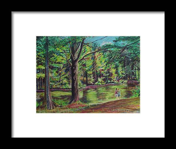 Family Framed Print featuring the pastel Sisters At Wason Pond by Sean Connolly