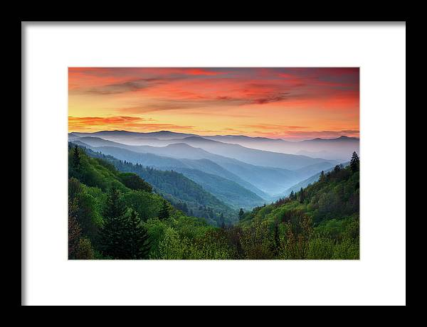Great Smoky Mountains Framed Print featuring the photograph Smoky Mountains Sunrise - Great Smoky Mountains National Park by Dave Allen