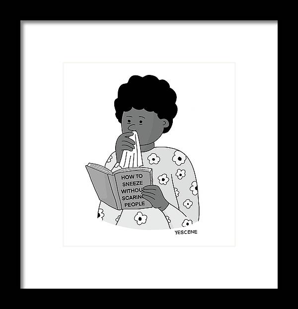 Captionless Framed Print featuring the drawing Sneeze Without Scaring People by Yasin Osman
