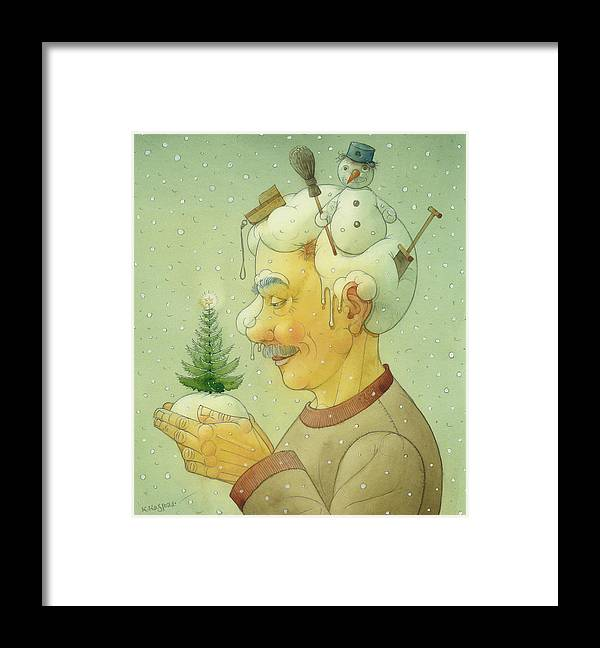 Winter Snow Figure Christmas Tree Holiday Framed Print featuring the painting Snovy Winter by Kestutis Kasparavicius