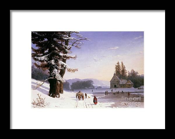 Wagon Framed Print featuring the painting Snow Scene In The South Of France, 1868 by Josephine Bowes
