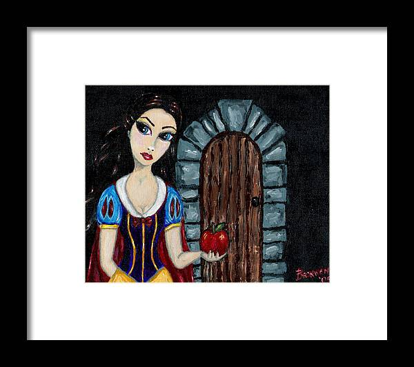 Fairy Tale Framed Print featuring the painting Snow White Considers The Apple by Bronwen Skye