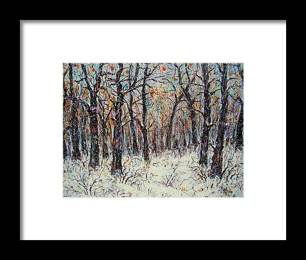 Landscape Framed Print featuring the painting Snowing In The Forest by Natalie Holland