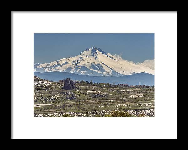 Grass Framed Print featuring the photograph Snowy Mount Erciyes in Cappadocia, Turkey by Istvan Kadar Photography